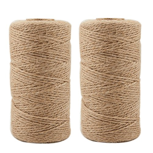 Jute Twine 656 Feet Natural Arts Crafts Jute Rope Durable Packing String for Photos, Gifts, Crafts and Gardening Applications(2pcs x 328feet) by ILIKEEC