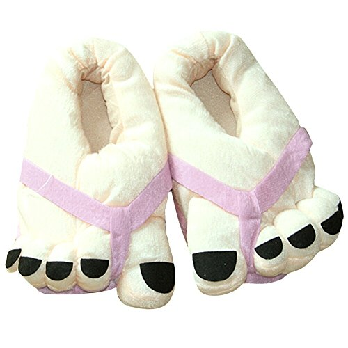 Eforstore Funny Winter Toe Big Feet Warm Soft Plush Slippers Novelty Gift Adult Shoes (Pink)