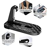 Car Doorstep Vehicle Folding Ladder, Giwil Car Folding Doorstep Foot Pegs with Safety Hammer Function Rooftop Doorstep Easy Access To Car Roof for Car Jeep SUV.