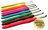 Gold Medal Crafts' Ergonomic 9pc Crochet Hook Set - Aluminum Hooks with Color Coded, Non-Slip Handles - Includes Downloadable Pattern Book