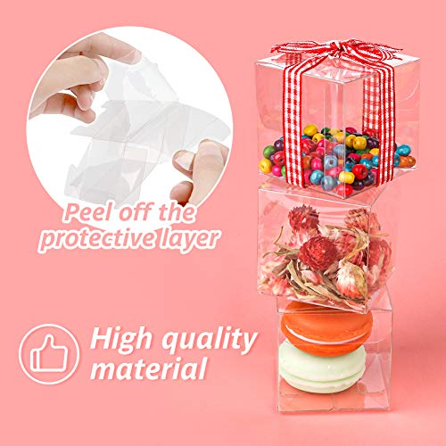 45PCS Clear Favor Boxes, 3 x 3 x 3 inches Plastic Gift Boxes Transparent Boxes Clear Gift Boxes for Wedding, Party, Baby Shower, Bridal Shower