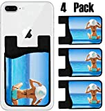 MSD Phone Card holder, sleeve/wallet for iPhone Samsung Android and all smartphones with removable microfiber screen cleaner Silicone card Caddy(4 Pack) IMAGE ID 33590087 Young woman sitting from back