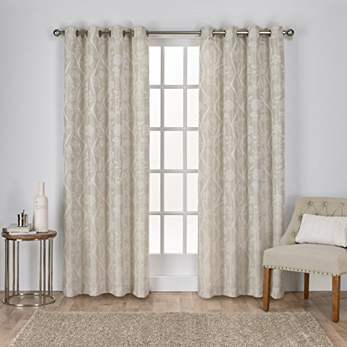 Home Linen Window Panel (Exclusive Home Curtains Lamont Jacquard Grommet Top Window Curtain Panel Pair, Linen, 54x84)
