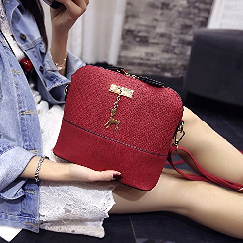 Contever Handbag Deer Pendant New Bag Shoulder Black Red with Crossbody Bags Lady's Yw8rxqBY