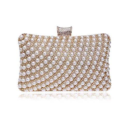 Eleganti Di Perle Nuziale Cerimonia Sacchetti Oro Delle Della Wyba Signora Gold Donne wgBx4