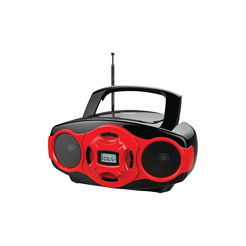 NAXA Electronics Portable MP3/CD Boombox and USB Player (Red)