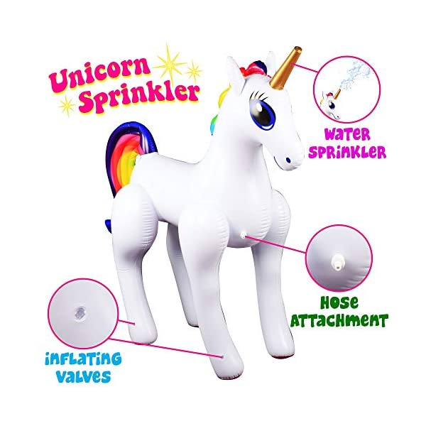 Giant Inflatable Sprinkler Unicorn for Outdoors Yard Lawn for Kids and Adults 6 Ft High 5