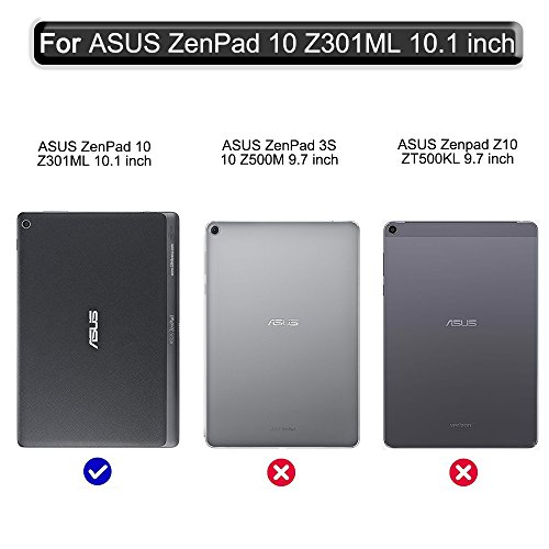 Gzerma Asus ZenPad 10.1 Case with Screen Protector, PU Leather Flip Stand Smart Cover with Auto Wake/Sleep, Ultra Clear Protective Film for Asus ZenPad 10 Z300C Z300CG Z300CL Z300M Tablet, Sky by Gzerma (Image #1)