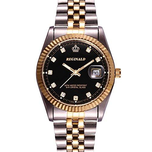 Gosasa Luxury Mens Dress Style Stainless Steel Two-Tone Wristband Black Men Quartz Watch