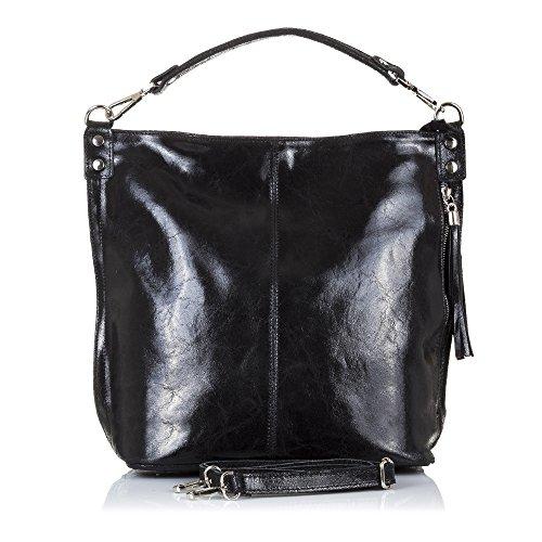 Made Piel Shopping Piedra Bag Acabado Vera Cuero Mujer Pelle bolso npFqwP