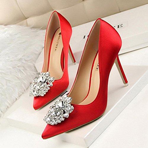 Mariage de Satin Hauts High Sexy Escarpins Pointues Wedding Sandales Rouge Chaussures à Été Heels Overdose Ornementées Talon en Femme gz7wqfO