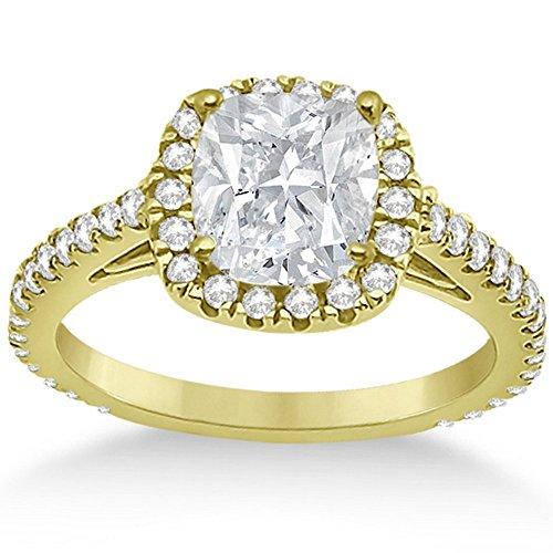 (Cushion Cut Diamond Engagement Ring Setting for Women 18K Yellow Gold Diamond Bridal Band 0.60cw )