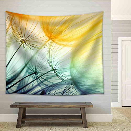 Dandelion Seed in Golden Sunlight Fabric Wall