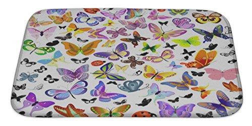 Gear New Set of Ladybug & Butterfly Bath Rug Mat No Slip Microfiber Memory Foam (5569 Slip)