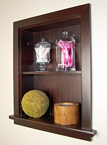 14x18 Dark Brown Recessed Wall Niche by Fox Hollow Furnishings (also available in White, Gray, and Unfinished) by The Concealed Cabinet by iinnovators