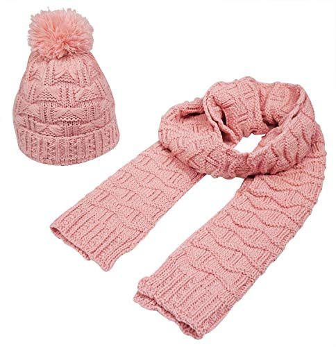 (Bienvenu Women Fashion Winter Warm Knitted Scarf and Hat Set Skullcaps,Pink)