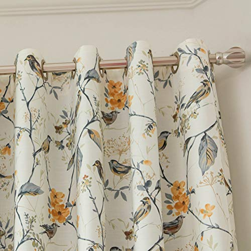 VOGOL Blackout Grommet Curtains Birds and Flower Print Window Panels for Bedroom Living Room, One Panel, 52x63, Gray (Flower Curtains)