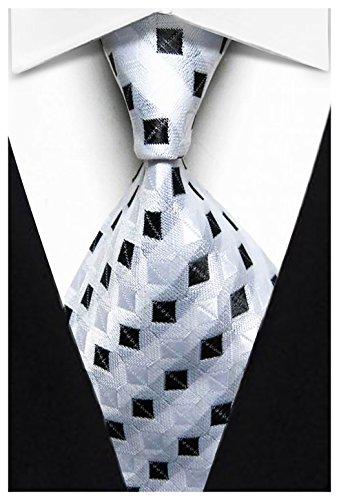 w3dayup mens Classic Plaid Tie Necktie Woven Jacquard Neck White Black Stripe Ties For Men (White Woven Necktie)
