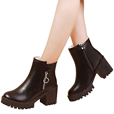 Inkach Women Classic Martin Boots Winter Snow Boots High Heels Ankle Shoes