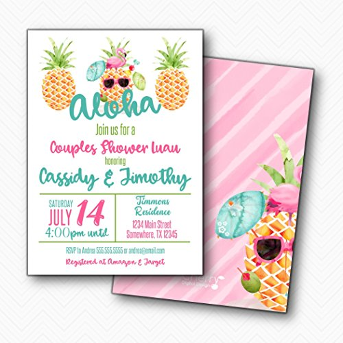 Pineapple Luau Couples Shower Invitations | Envelopes Included