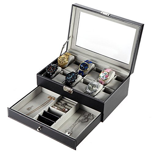 Double-layer PU Leather Watch Jewelry Display Box,12 Slots with Pillows,Lockable Jewelry Storage Organizer,12 x 7.9 x 5.5 inch,Black