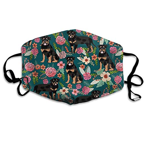 NOT Rottweiler Floral Dog PM2.5 Mask, Adjustable Warm Face Mask Unique Cover Filters Blocking Pollen Pollution Germs£¬Can Be Washed Reusable Pollen Masks Cotton Mouth Mask for Men Women