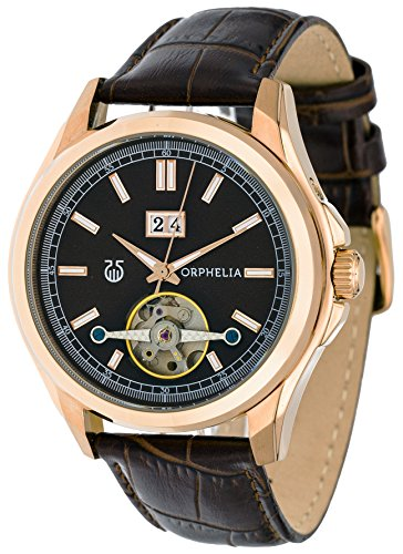 Orphelia Men's Automatic Watch Analogue With Luminous Hands Free Leather Strap Dial Color Brown