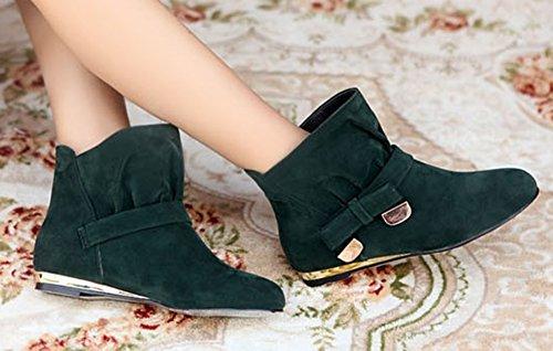 Aisun Kvinners Søt Bowknot Semsket Flat Ankel Boots Green