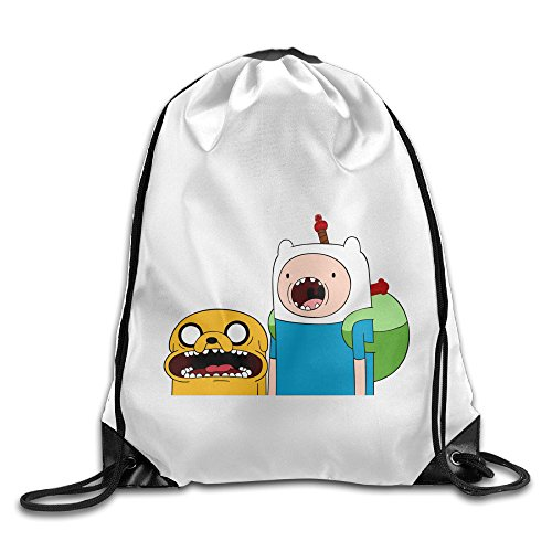 Bekey Adventure Time Jake & Finn Gym Drawstring Backpack Bags For Men & Women For Home Travel Storage Use Gym Traveling Shopping Sport Yoga (Home Made Dog Costume)