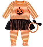 Baby Girls 2pcs Halloween Pumpkin Face Outfits Long Sleeve Stripe Rompers with Headband