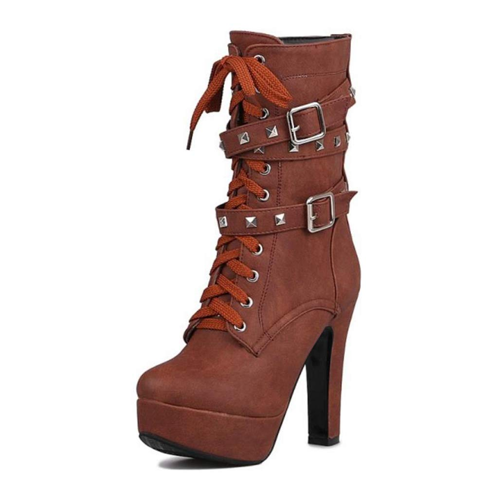 Brown T-JULY Women Mid Calf Boots Soft High Heel Cross Strap Metal Buckle Platform Short Boots Winter Lady Thick Fur Warm Boots