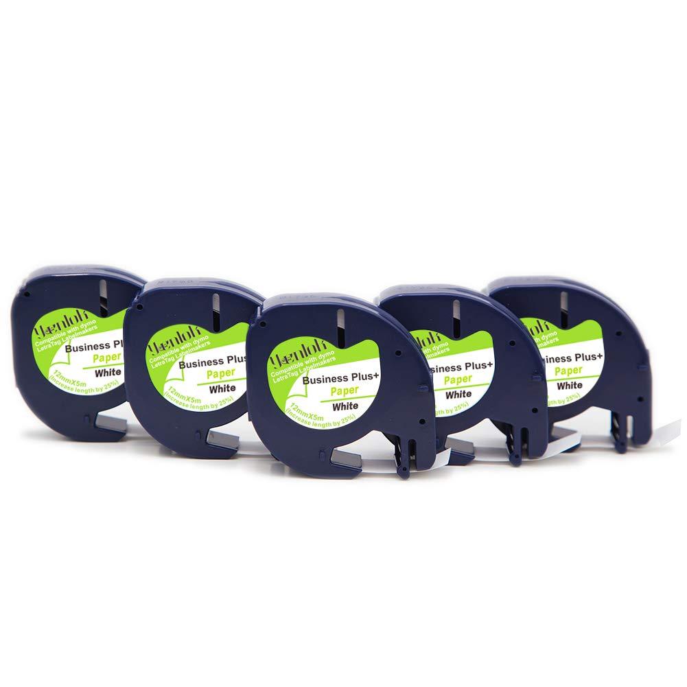 5 Cassetta Nastro Cartucce Comaptibili Dymo 91200 91202 91203 91204 91205 S0721510 S0721510 S0721620 S0721630 S0721640 S0721650 Letratag Carta Nastro 12mm x 4m Nero su Bianco Nastri Etichette per LT-100H LT-100T QX 50 XR XM 2000 Plus Stampa Adhesive