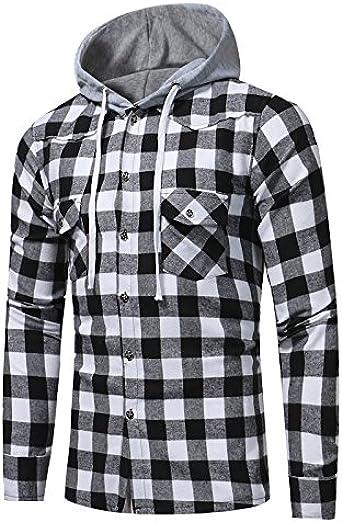 Camisa de Tela Escocesa de los Hombres, Manga Larga con Capucha Superior, Camisa de algodón: Amazon.es: Ropa y accesorios
