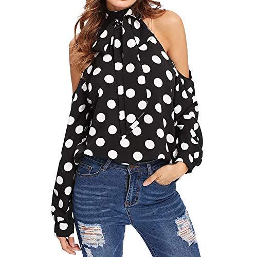 MEEYA Polka Dot Blouse Women Holiday Off Cold Shoulder Long Sleeve Belt Shirt Top (L, Black) (Linen Belt Silk)