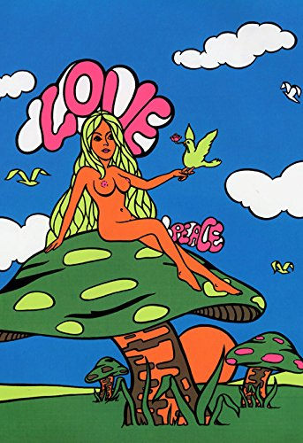 Love & Peace Poster, Naked Hippie Girl, Mushrooms, Birds, Psychedelic - Naked Hippie Girls