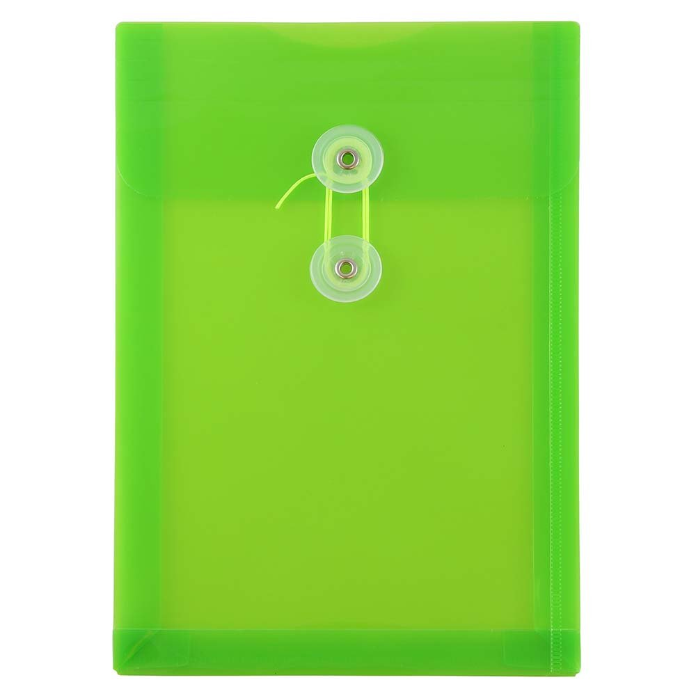 JAM PAPER Plastic Envelopes with Button & String Tie Closure - 6 1/4 x 9 1/4 - Lime Green - 120/Pack
