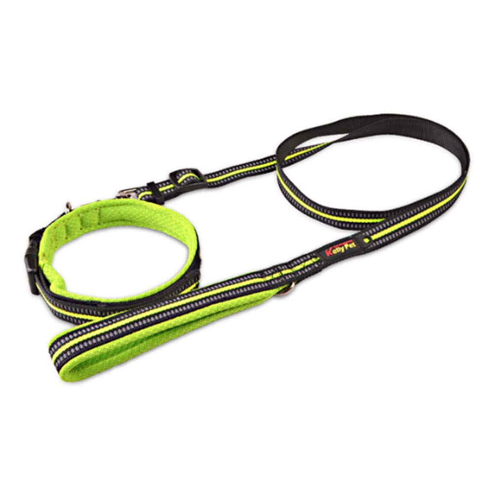 Green Small Green Small Reflective Dog Leash DurableNylon Pet Collar and Leash Lead Set with Soft Padded Handle Suitable forLarge Medium and Small dogsTraining, Walking, Running,Green,S