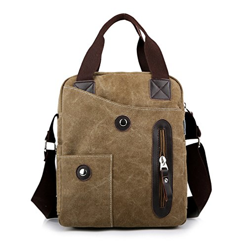 Work Canvas Casual For Crossbody color Man Unisex 1 Shoulder Khaki 1 Bags Black Bag Business Messenger Travel Purse Men's F1xdPf7
