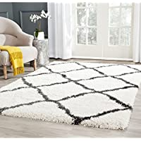 Safavieh Belize Shag Collection SGB489B Ivory and Charcoal Area Rug (51 x 76)