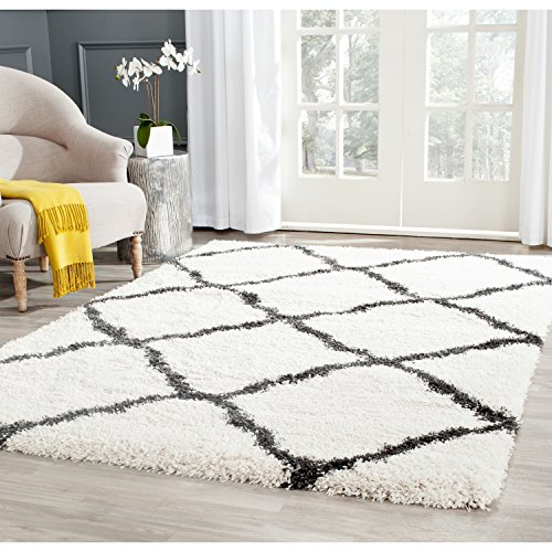 """Safavieh Belize Shag Collection SGB489B Ivory and Charcoal Area Rug, 5 feet 1 inches by 7 feet 6 inches (5'1"""" x 7'6"""")"""