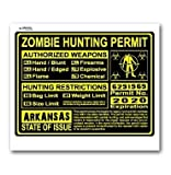 Arkansas AR Zombie Hunting License Permit Yellow - Biohazard Response Team - Window Bumper Locker Sticker