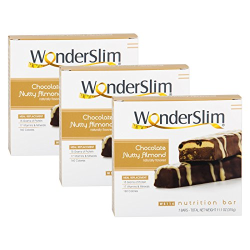 WonderSlim High Protein Meal Replacement Bar - High Fiber, Kosher, Chocolate Nutty Almond - 3 Box Value-Pack (Save 5%) by WonderSlim (Image #2)