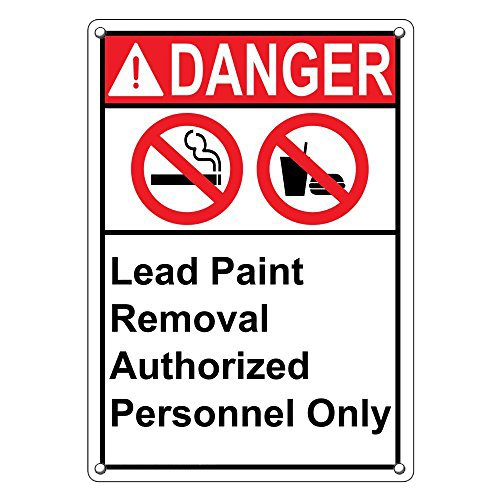 Weatherproof Plastic Vertical ANSI DANGER Lead Paint Removal Authorized Personnel Only Sign with English Text and Symbol by SignJoker