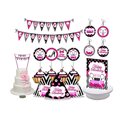 Diva Party. Glam Diva Birthday Party Decorations for Girls. Pink & Black Party. Diva Girl. Includes Party Hats, Centerpieces, Bunting Banner, Danglers, Cupcake Toppers and Bunting Cake Topper.
