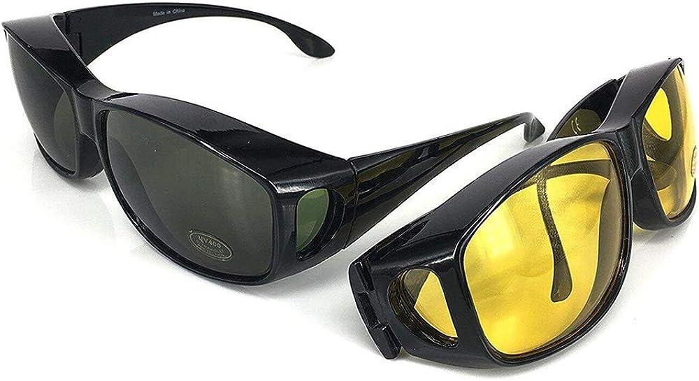 VOUNOT 2 Gafas de Sol Superpuestas, UV400 Gafas de Sol Polarizadas Hombre y Mujer, Gafas de Noches para Conducir