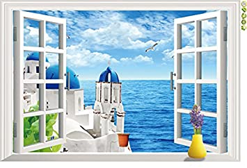 Great Winhappyhome Seaside Villa Natural Scene 3D Fake Window Wall Sticker  Removable Home Decor Living Room Bedroom
