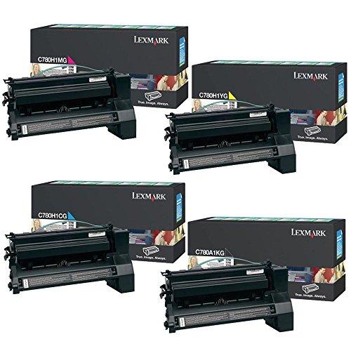 Lexmark C780A1KG Standard Yield Black with C780H1CG, C780H1MG, C780H1YG High Yield Color Toner Cartridge Set - Lexmark C782 -