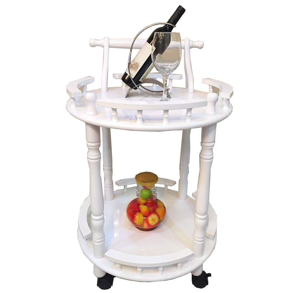 Round Hotel Restaurant Delivery Car with Wheels, Kitchen Beauty Trolley, Home Storage Cabinet, Heavy Duty, Multi-Purpose by Kitchen Cart (Image #1)