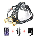 HeadLamp,3 LED Bulbs 6000 Lumen 4 Mode Adjustable Headlight Torch with 18650 Rechargeable Battery and Charger for Outdoor Hiking Camping Riding Fishing Hunting