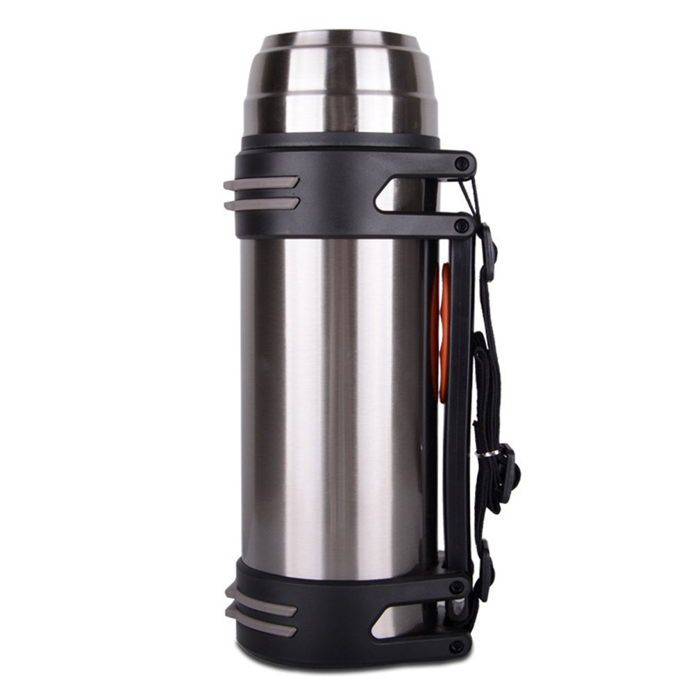 Outdoor Portable Double Walled Stainless Steel Vacuum Insulated Flask, Large Capacity Sport Travel Thermos Flask Bottle with Leak Proof Inner Cap 2 Drinking Mugs and Strap Good for Hiking Camping 1.2L Shantan